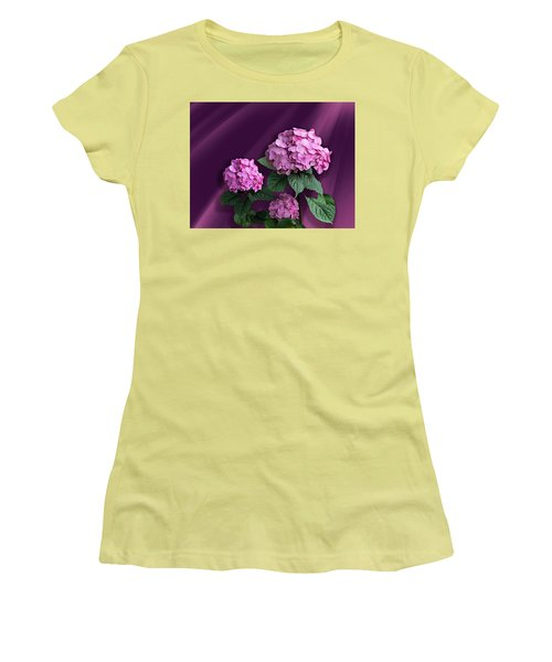 Pink Hydrangea Women's T-Shirt (Junior Cut) by Judy Johnson