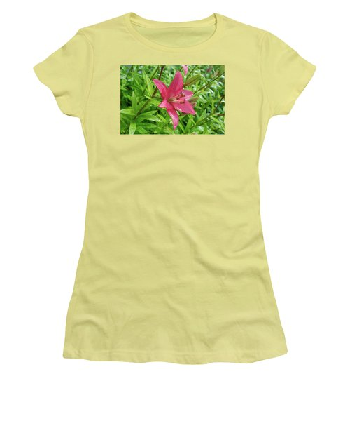 Pink Lily Flowers By Tamara Sushko  Women's T-Shirt (Athletic Fit)