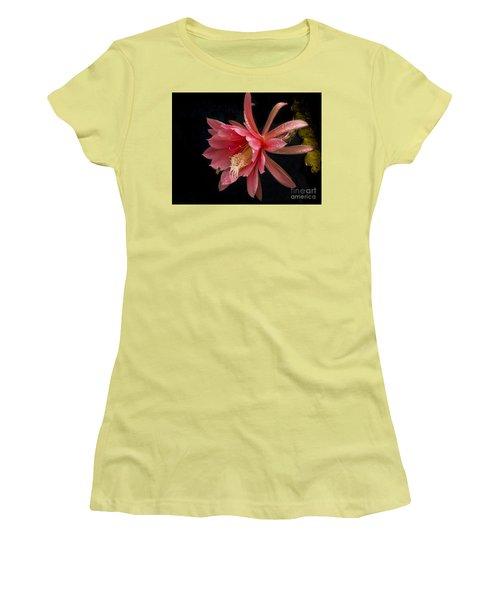 Pink Orchid Cactus Flower Women's T-Shirt (Junior Cut) by Inge Riis McDonald