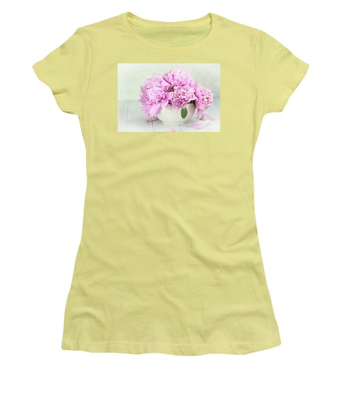 Pink Peonies Women's T-Shirt (Junior Cut) by Stephanie Frey