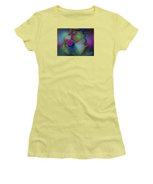 Women's T-Shirt (Junior Cut) featuring the digital art Pink Ping Pong Ball by Karin Kuhlmann