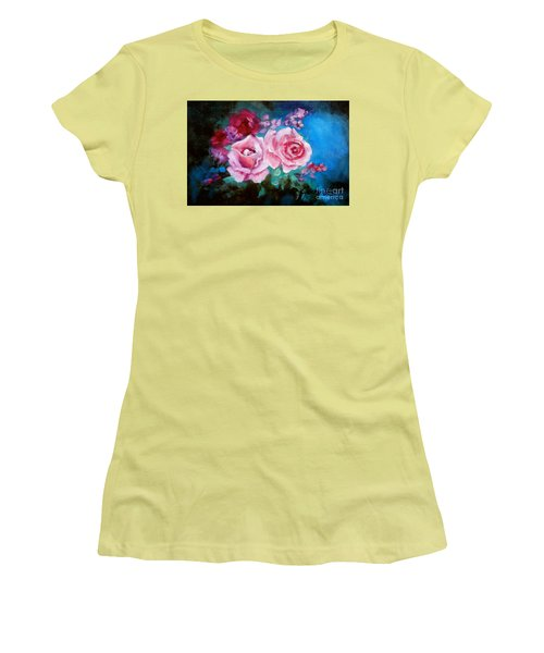 Pink Roses On Blue Women's T-Shirt (Athletic Fit)