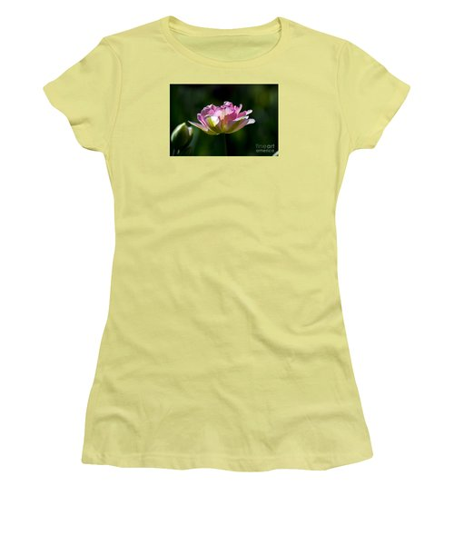 Women's T-Shirt (Athletic Fit) featuring the photograph Pink Tulip by Angela DeFrias