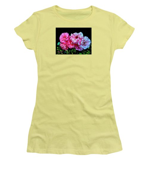 Pink - White Roses  Women's T-Shirt (Junior Cut) by Sadie Reneau