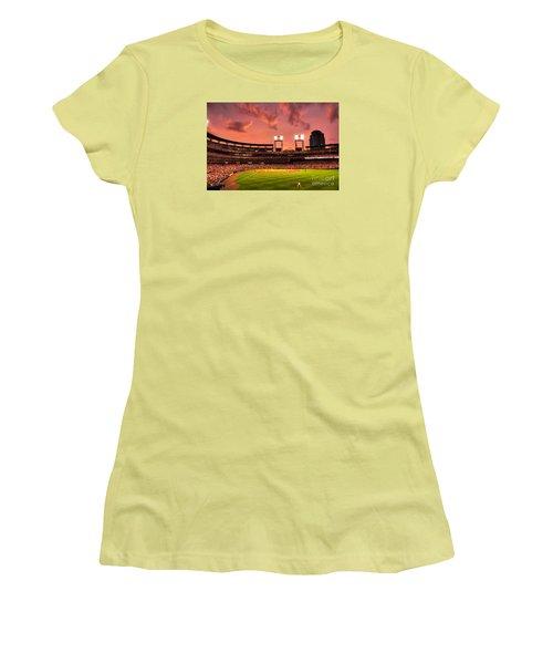 Women's T-Shirt (Junior Cut) featuring the digital art Piscotty In Left Field by William Fields