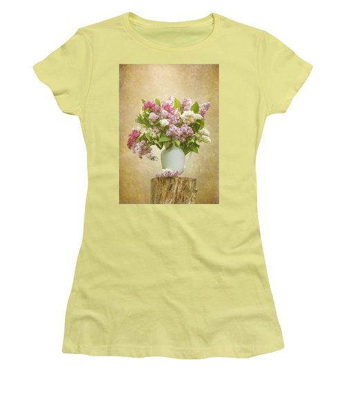 Pitcher Of Lilacs Women's T-Shirt (Junior Cut) by Patti Deters