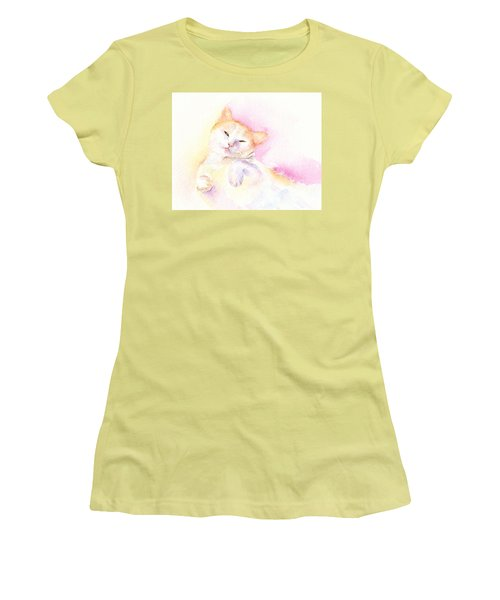 Women's T-Shirt (Junior Cut) featuring the painting Playful Cat II by Elizabeth Lock