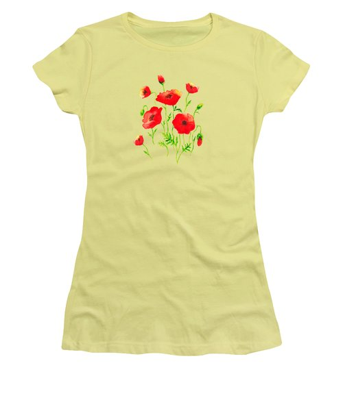 Playful Poppy Flowers Women's T-Shirt (Athletic Fit)