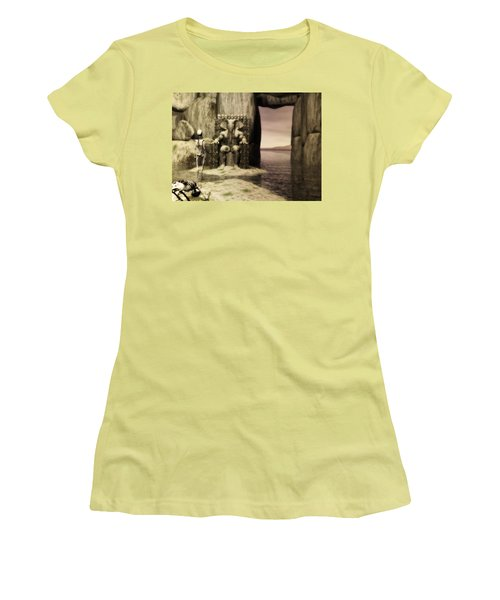 Women's T-Shirt (Junior Cut) featuring the digital art Plea Of The Penitent To The Lord Of Perdition by John Alexander