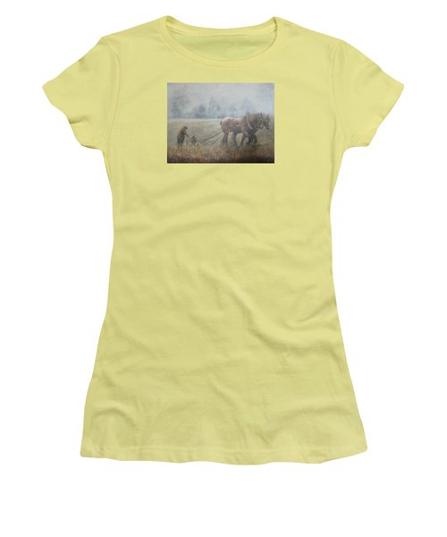 Plowing It The Old Way Women's T-Shirt (Junior Cut) by Donna Tucker