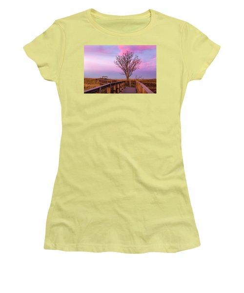 Plum Island Boardwalk With Tree Women's T-Shirt (Junior Cut) by Betty Denise