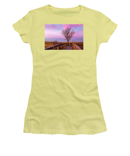 Plum Island Boardwalk With Tree Women's T-Shirt (Athletic Fit)