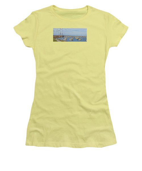 Women's T-Shirt (Junior Cut) featuring the photograph Plymouth Harbor In September by Constantine Gregory
