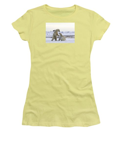 Polar Bear Play-fighting Women's T-Shirt (Athletic Fit)