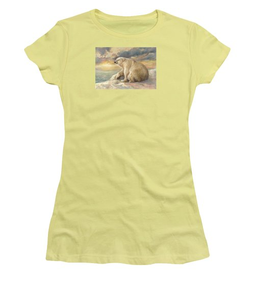 Women's T-Shirt (Junior Cut) featuring the painting Polar Bear Rests On The Ice - Arctic Alaska by Svitozar Nenyuk