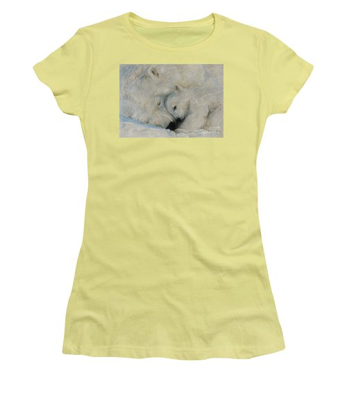 Women's T-Shirt (Junior Cut) featuring the drawing Polar Snuggle by Meagan  Visser
