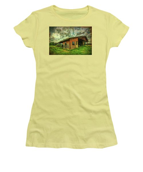 Women's T-Shirt (Athletic Fit) featuring the photograph Pole Barn by Lewis Mann