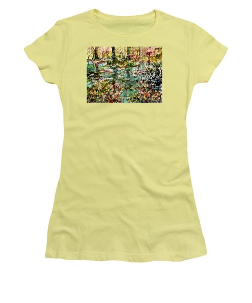 Women's T-Shirt (Junior Cut) featuring the painting Pond And Beyond by Alfred Motzer