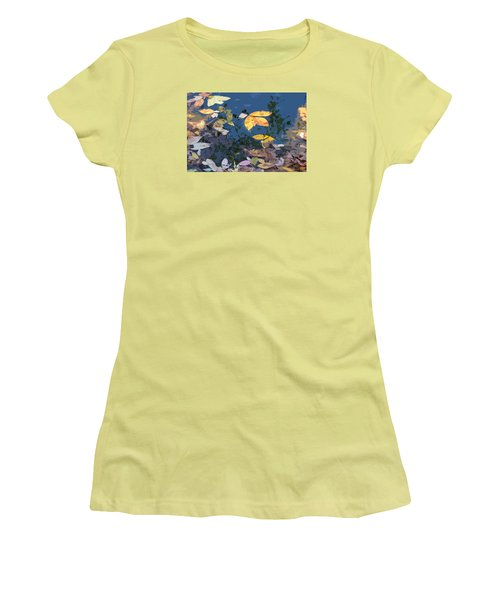 Women's T-Shirt (Junior Cut) featuring the photograph Autumn Leaves On The Pond by Spyder Webb