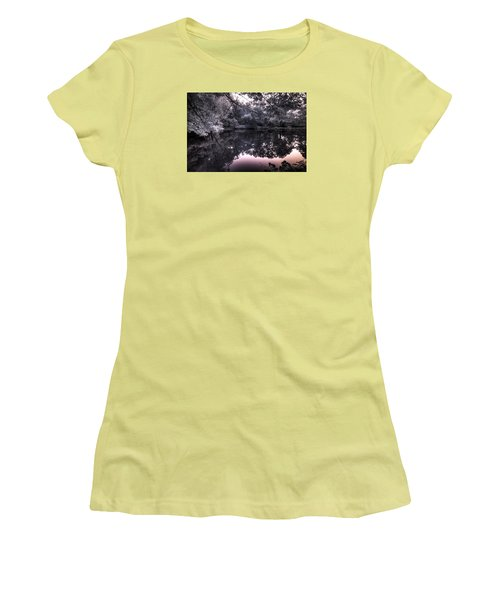 Women's T-Shirt (Junior Cut) featuring the photograph Pondside Dusk by William Fields