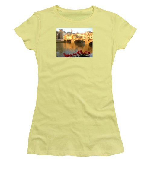 Ponte Vecchio In Florence Women's T-Shirt (Junior Cut) by Lisa Boyd
