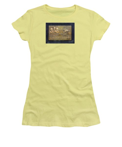 Pony Express Brass Plaque Women's T-Shirt (Junior Cut) by Linda Phelps