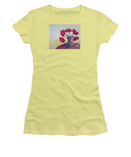 Poppies In A Vase Women's T-Shirt (Junior Cut) by Roxy Rich