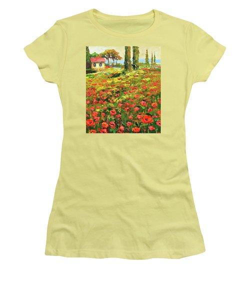 Poppies Near The Village Women's T-Shirt (Junior Cut) by Dmitry Spiros
