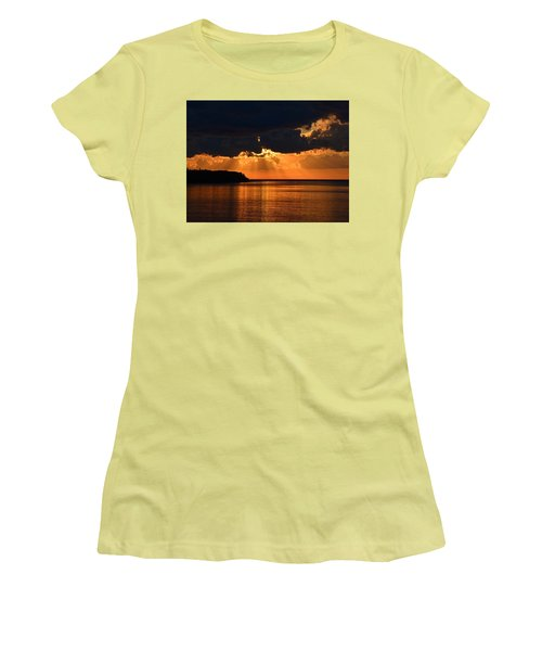 Porcupine Mountains Superior Sunset Women's T-Shirt (Junior Cut) by Keith Stokes