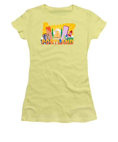 Portland Oregon Skyline In State Map Women's T-Shirt (Junior Cut) by Jit Lim