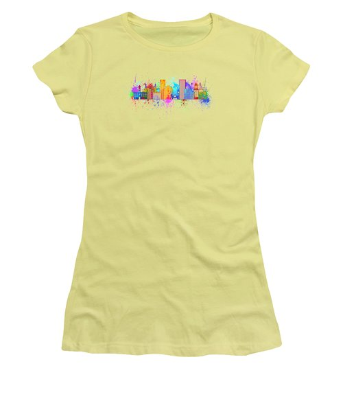 Portland Skyline In Paint Splatter Illustration Women's T-Shirt (Junior Cut) by Jit Lim