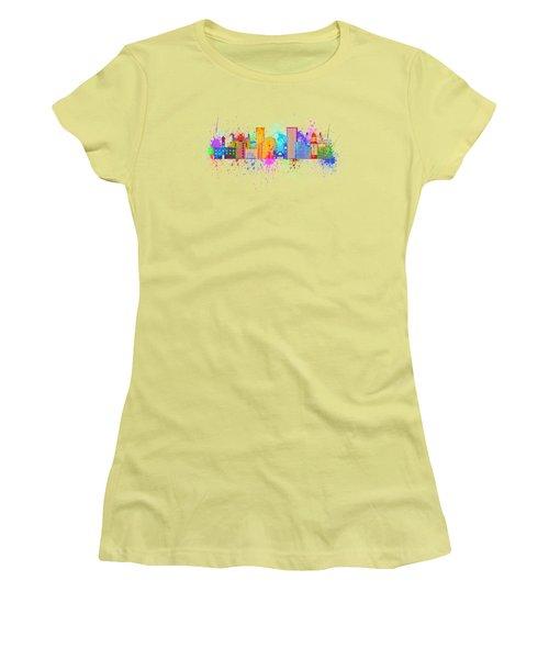 Portland Skyline In Paint Splatter Illustration Women's T-Shirt (Athletic Fit)