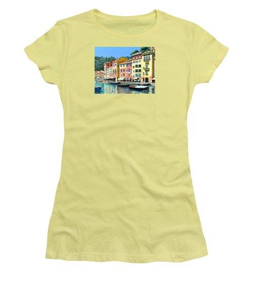 Portofino Sunshine 30 X 40 Women's T-Shirt (Junior Cut) by Michael Swanson