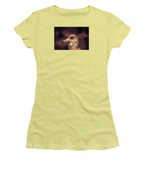 Women's T-Shirt (Junior Cut) featuring the photograph Portrait Of A Gull by Lora Lee Chapman