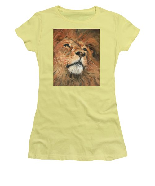Women's T-Shirt (Junior Cut) featuring the painting Portrait Of A Lion by David Stribbling