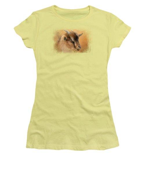 Portrait Of A Nubian Dwarf Goat Women's T-Shirt (Junior Cut) by Jai Johnson