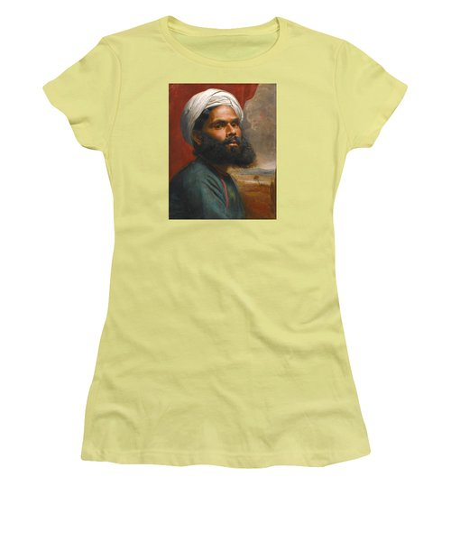 Women's T-Shirt (Junior Cut) featuring the painting Portrait Of An Indian Sardar by Edwin Frederick Holt