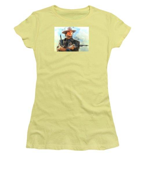 Women's T-Shirt (Junior Cut) featuring the digital art Portrait Of Clint Eastwood by Charmaine Zoe