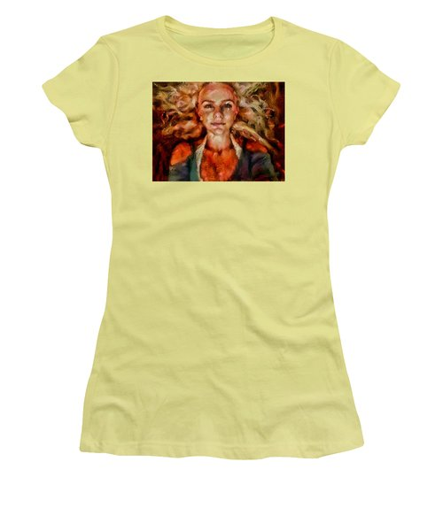 Portrait Of Female With Hair Billowing Everywhere In Radiant Unsmiling Sharp Features Golden Warm Colors And Upturned Nose Curls And Aliens Of The Departure Women's T-Shirt (Junior Cut) by MendyZ