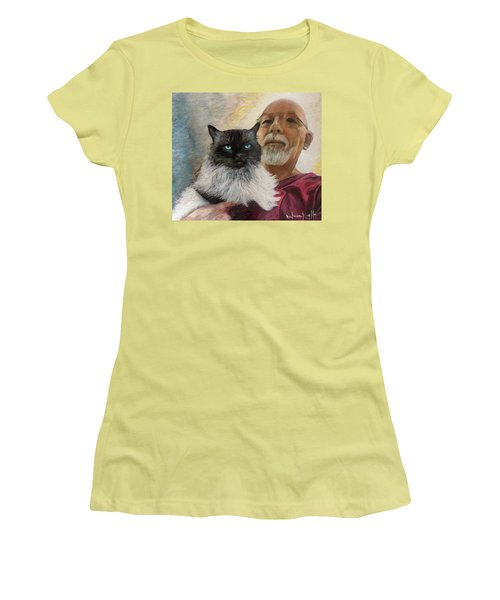 Women's T-Shirt (Junior Cut) featuring the painting Portrait Of Veda And Ron by Ron Richard Baviello