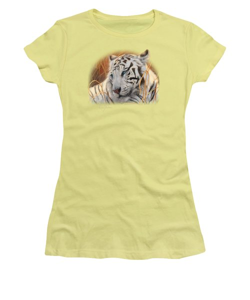 Portrait White Tiger 1 Women's T-Shirt (Junior Cut) by Lucie Bilodeau