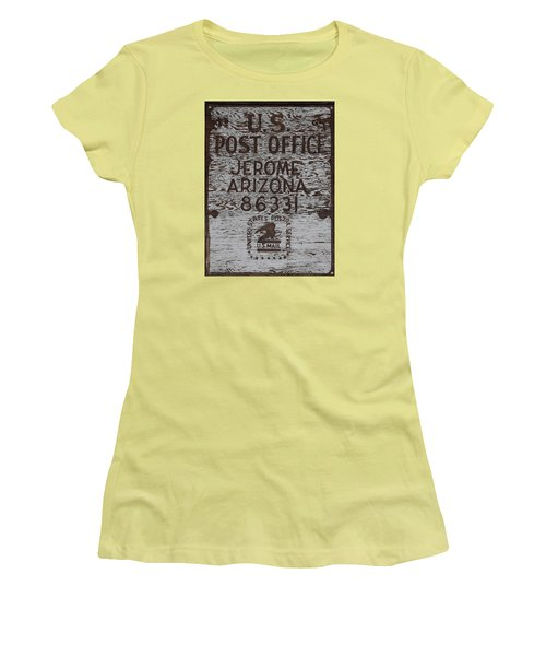 Women's T-Shirt (Junior Cut) featuring the photograph Post Office Jerome - Arizona by Dany Lison