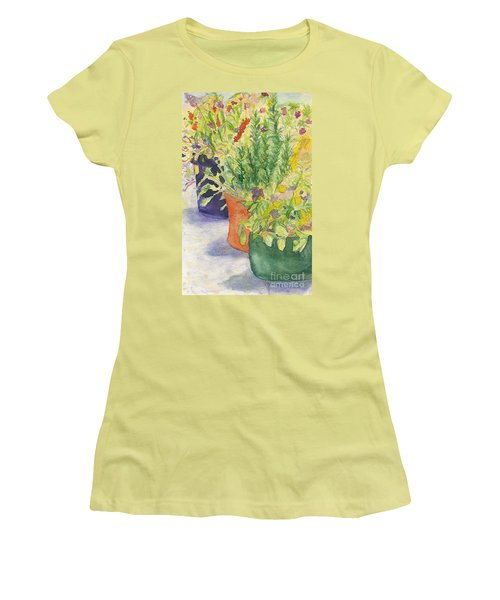 Women's T-Shirt (Junior Cut) featuring the painting Potted Beauties  by Vicki  Housel