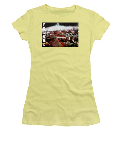 Women's T-Shirt (Junior Cut) featuring the painting Prague Old Town Poster by Kai Saarto