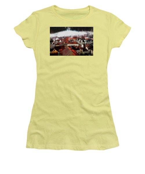 Women's T-Shirt (Junior Cut) featuring the painting Prague Skyline by Kai Saarto