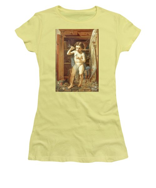 Women's T-Shirt (Junior Cut) featuring the painting Pranks Of Love by Manuel Ocaranza