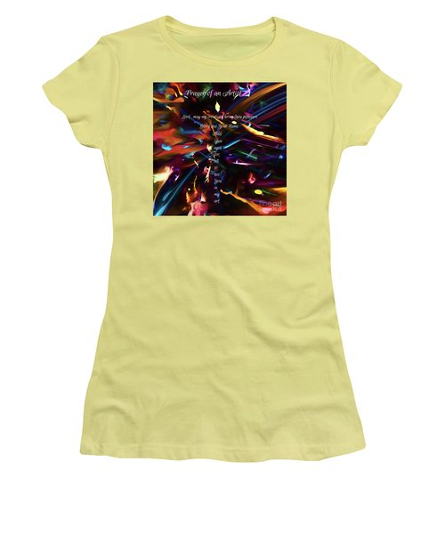 Women's T-Shirt (Athletic Fit) featuring the digital art Prayer Of An Artist by Margie Chapman