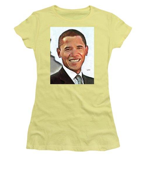 President Barack Obama Women's T-Shirt (Junior Cut) by Wayne Pascall