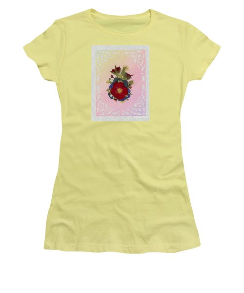 Pressed Flowers Arrangement With Red Roses Women's T-Shirt (Athletic Fit)