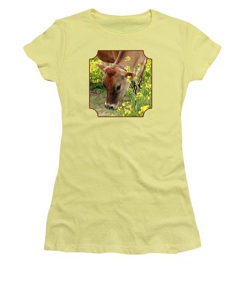 Pretty Jersey Cow - Vertical Women's T-Shirt (Junior Cut) by Gill Billington